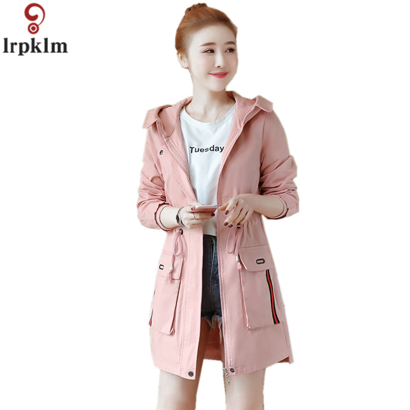 Brands Female Mid-Long Cotton Hooded   Trench   Coat 2018 Spring And Autumn New Korean Fashion Long Sleeve Slim Casual Outwear CH382