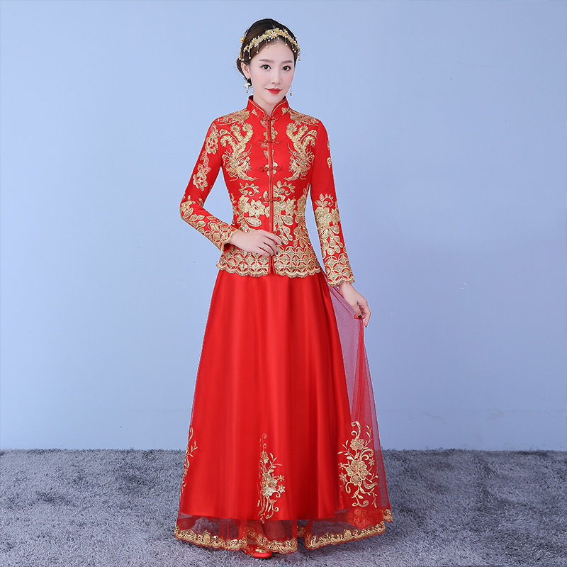 Royal Lady Phoenix Wedding Clothes Set Red Chinese Style Bride Wedding Evening Party Dress Embroidery Vintage Cheongsam Qipao