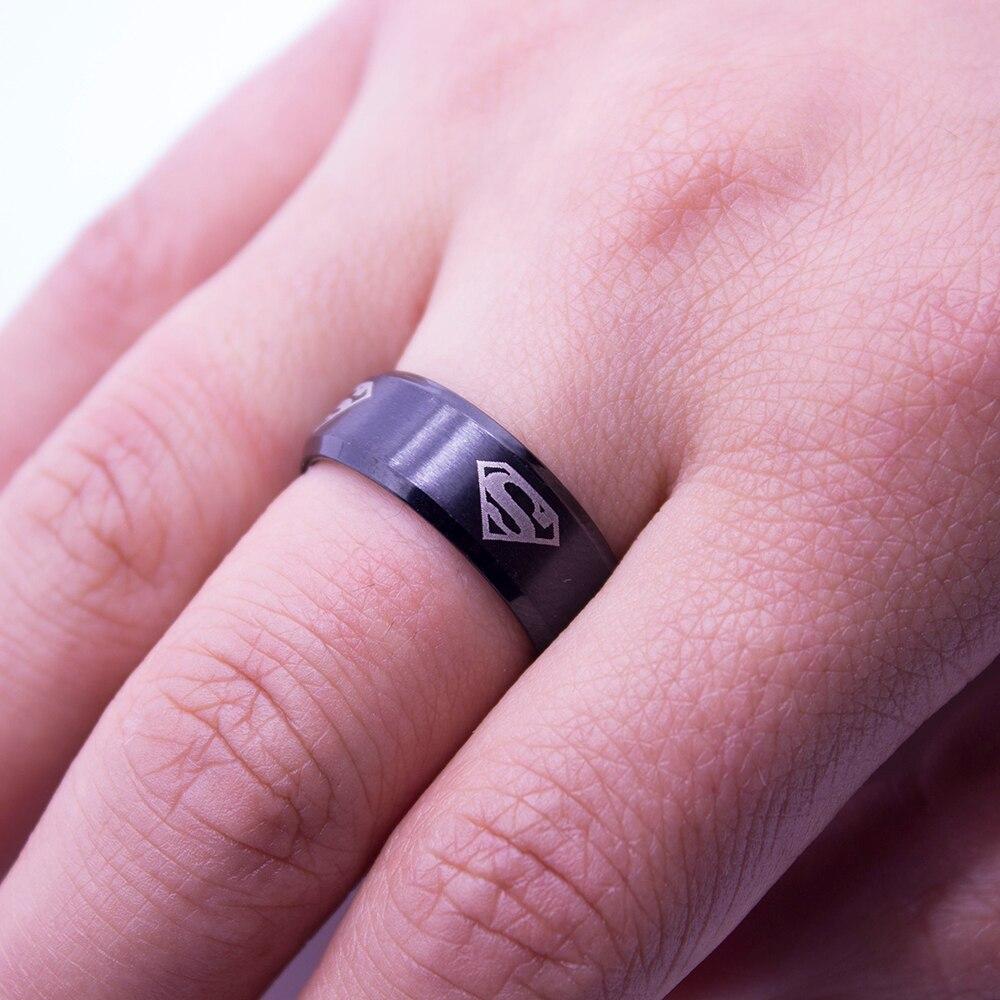 Anti Allergy New Super Men Rings Stainless Steel Women Superman Ring ...