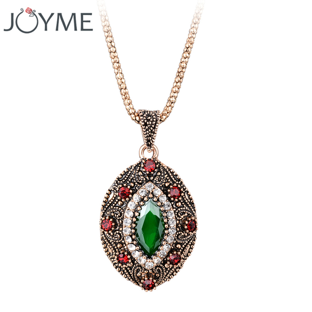 Turkish African Ethnic Jewelry Femme Eye Crystal Resin Retro Gold-Color Choker Necklace Pendant Chain Link Collier Bijoux