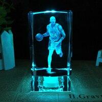Basketball Star Kobe Bean Bryant Model Crystal Ornaments Fans Gift 3D Laser Engraved Crafts Crystals Cube Figurine