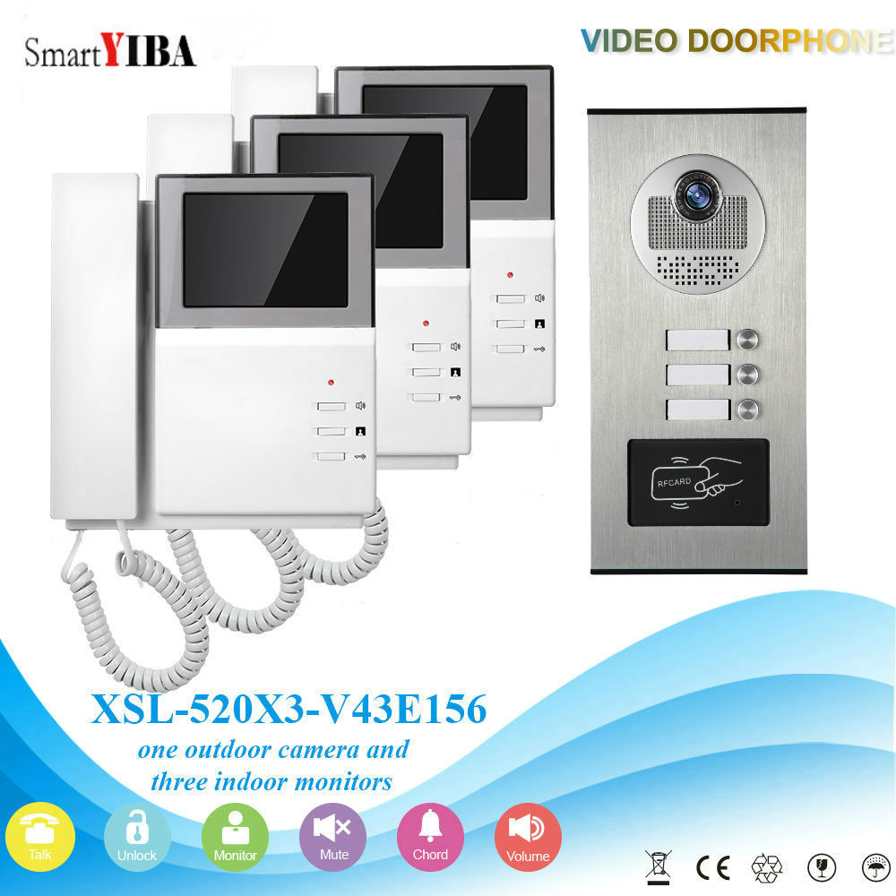 SmartYIBA Video Intercom 4.3 Inch Video Door Phone Doorbell Intercom System RFID Access Control Door Camera For 3 Unit Apartment