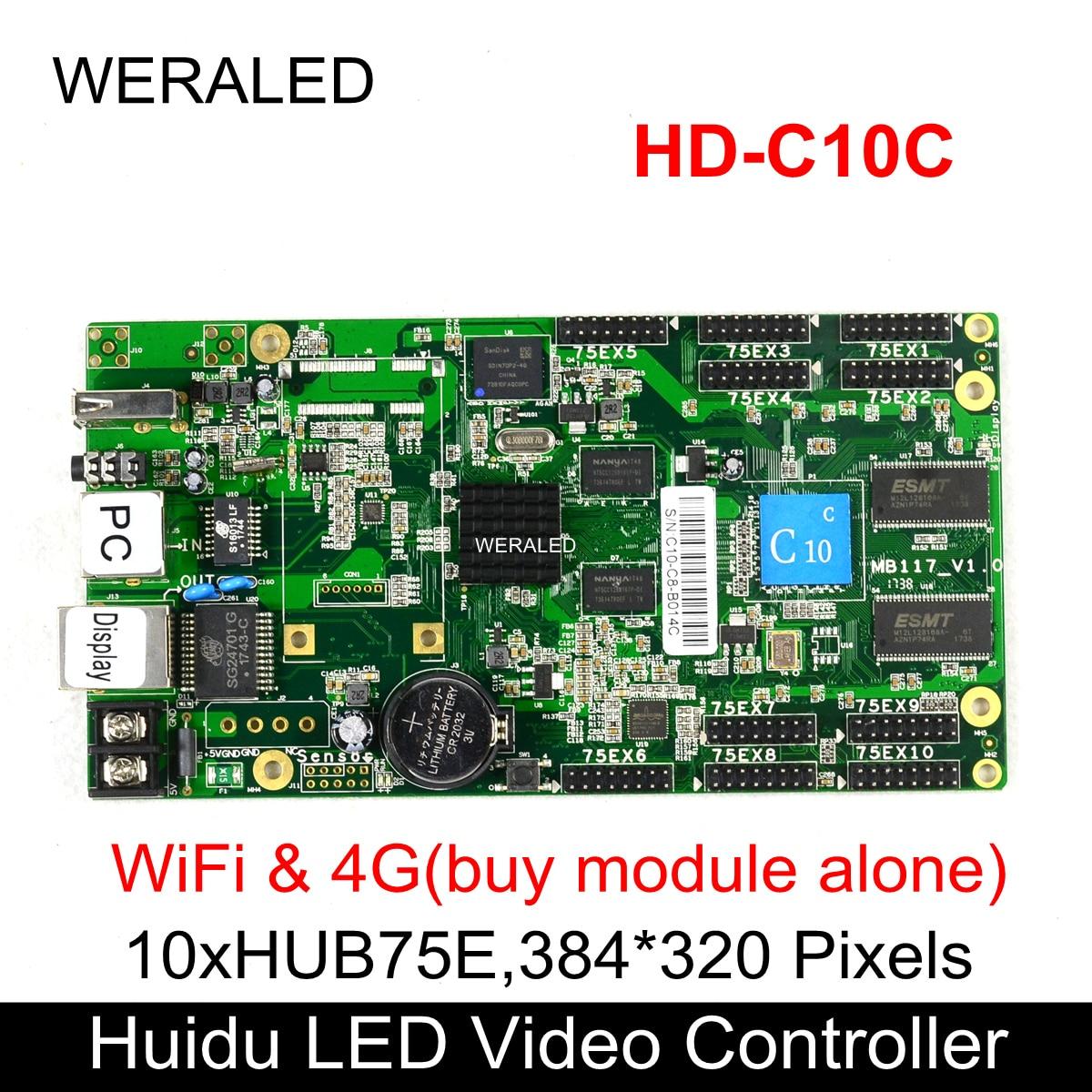 Huidu HD-C10C Asynchronization LED a todo Color tarjeta de vídeo puede agregar inalámbrico WIFI/3G/4G modular (HD-C10/C30/A3/HD-T901 en venta)