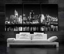 цена на 3 Piece Modern dark light  living room Decoration Canvas black white city night printed painting wall picture home decor