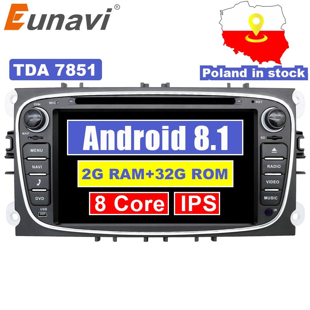Eunavi 2 din Android 8.1 Octa Núcleo DVD Player Do Carro GPS Navi para Ford Focus Galaxy Áudio Estéreo Rádio wi-fi unidade de cabeça 1024*600