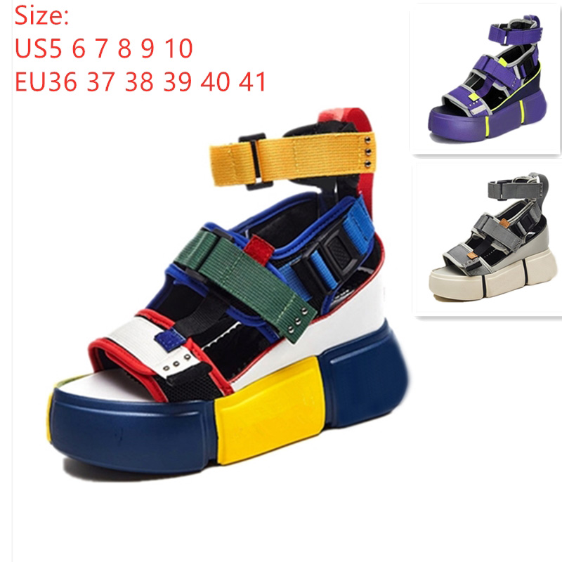 Womens Platform Sandals High Wedge Heels Casual Strip Dress Sneakers Shoes Size