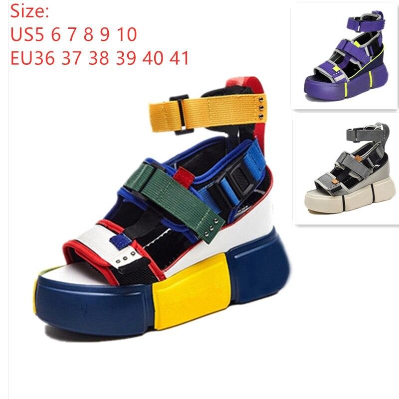 SWYIVY chaussures femmes sandales plateforme 2019 femme bleu chaussures décontracté été sandales Wedge Chunky talon haut sandale Rome cheville ceinture