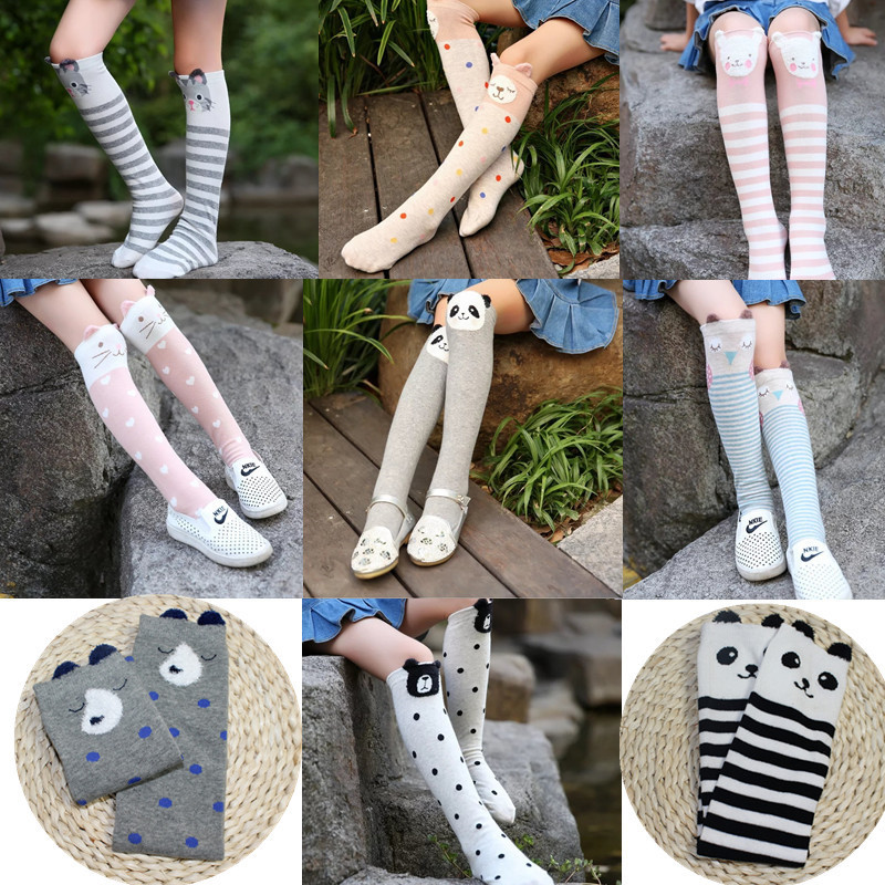 Cotton Children's Socks Cat Ears Girls Meisje Cartoon Kniekousen Long  Kids Chaussette Infantil Fille Knee High Fashion Toddler