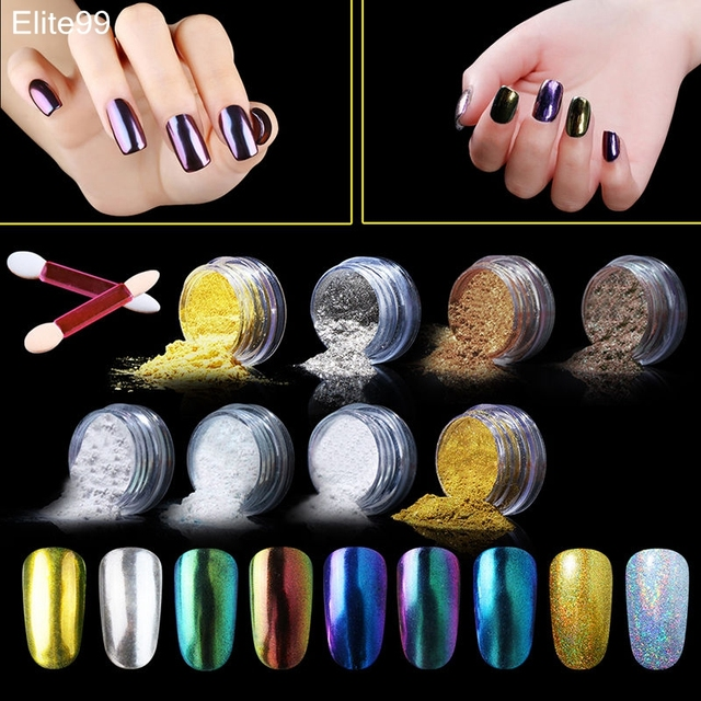 Aliexpress buy elite99 holographic metallic mirror effect elite99 holographic metallic mirror effect chrome powder 9 colors set chameleon nail glitter nail art with prinsesfo Images