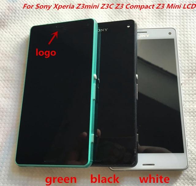 Для Sony Xperia Z3 Mini Z3 Compact D5833 ЖК-Дисплей экран С Сенсорным Экраном Дигитайзер Ассамблеи Черный Белый Зеленый Красный кадр