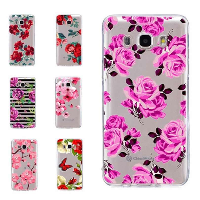 Для Samsung Galaxy A3 A5 2016 2017 Премьер J1 J2 J3 J5 J7 ТПУ Красочные Мягкий цветок розы роспись дизайн чехол Fundas C331