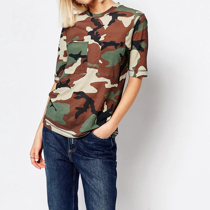 Short sleeve camouflage t shirts for womens military style t shirts ladies oversized slim fit t shirts casual cool cotton tops