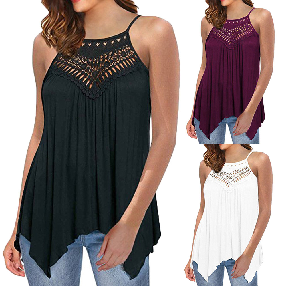Exquisite Design Womens Casual Lace Off Shoulder Loose Cotton Solid Lace Sleeveless O-Neck Womens Tank Tops #32405