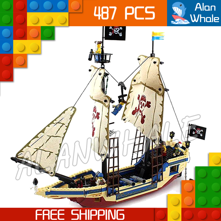 487pcs Pirates of the Caribbean King of The Sea 311 Pirate Ship Boat Model Building Blocks Kit Children Toy Compatible With lego kazi 608pcs pirates armada flagship building blocks brinquedos caribbean warship sets the black pearl compatible with bricks