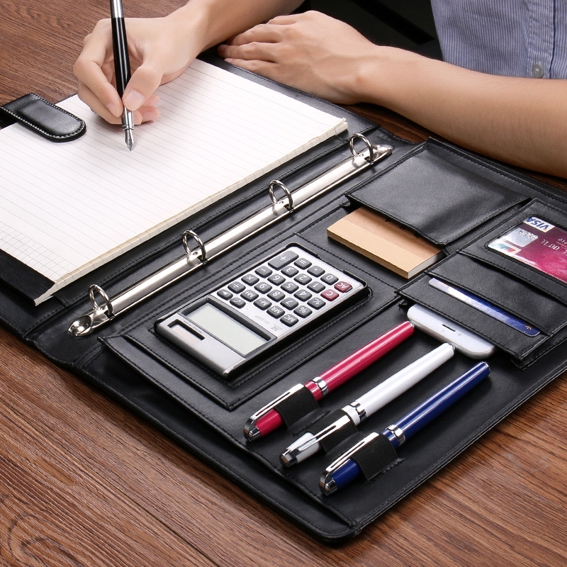 Business File Folder Organizer Mulfifunction Design A4 Leather Folder 4 Ring Binder Notebook With Calculator And Paper Bags 1200