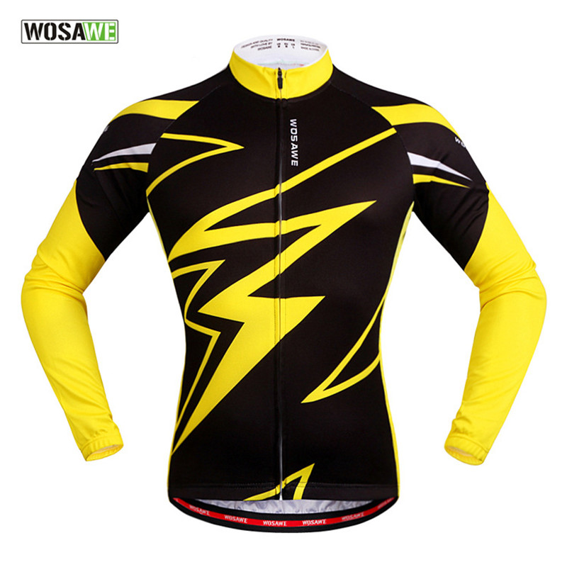 Brand Full Zipper Breathable Riding Clothes Cycling Jersey Long Sleeve Men Cycling Bike Bicycle MTB Clothing Black Yellow