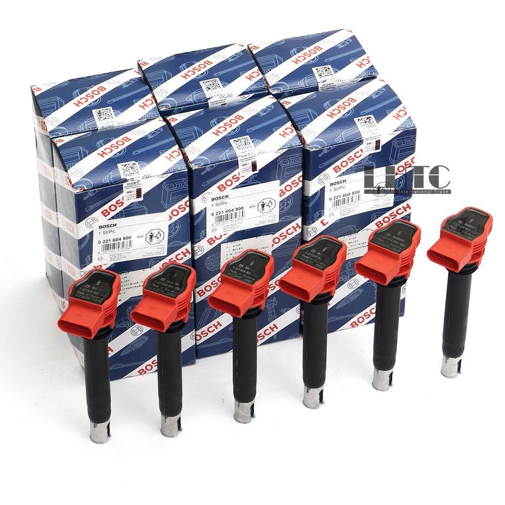 6x Pack de bobines d'allumage bougie BOS CH rouge pour V W AUDI A6 A7 Q7 PORSCHE 3.0 TFSI (OE # 06E 905 115 E)