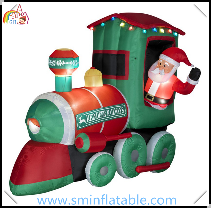 Christmas Decoration Inflatable Santa Claus Driving Train