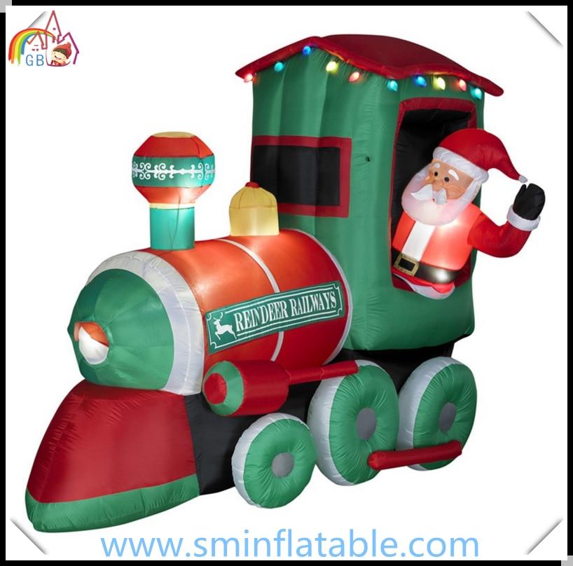 Christmas decoration inflatable santa claus driving train