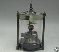 Elaborar Chinês Collectible Decorado Old Copper Esculpir Libélula Joaninha relógio De Mesa Mecânica
