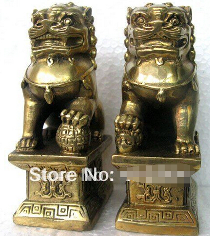Free Shipping Chinese Foo Dog Lion Fu Bronze Statue Pair Figurines Feng Shui Items Oriental Sz:11x6x8.3cm