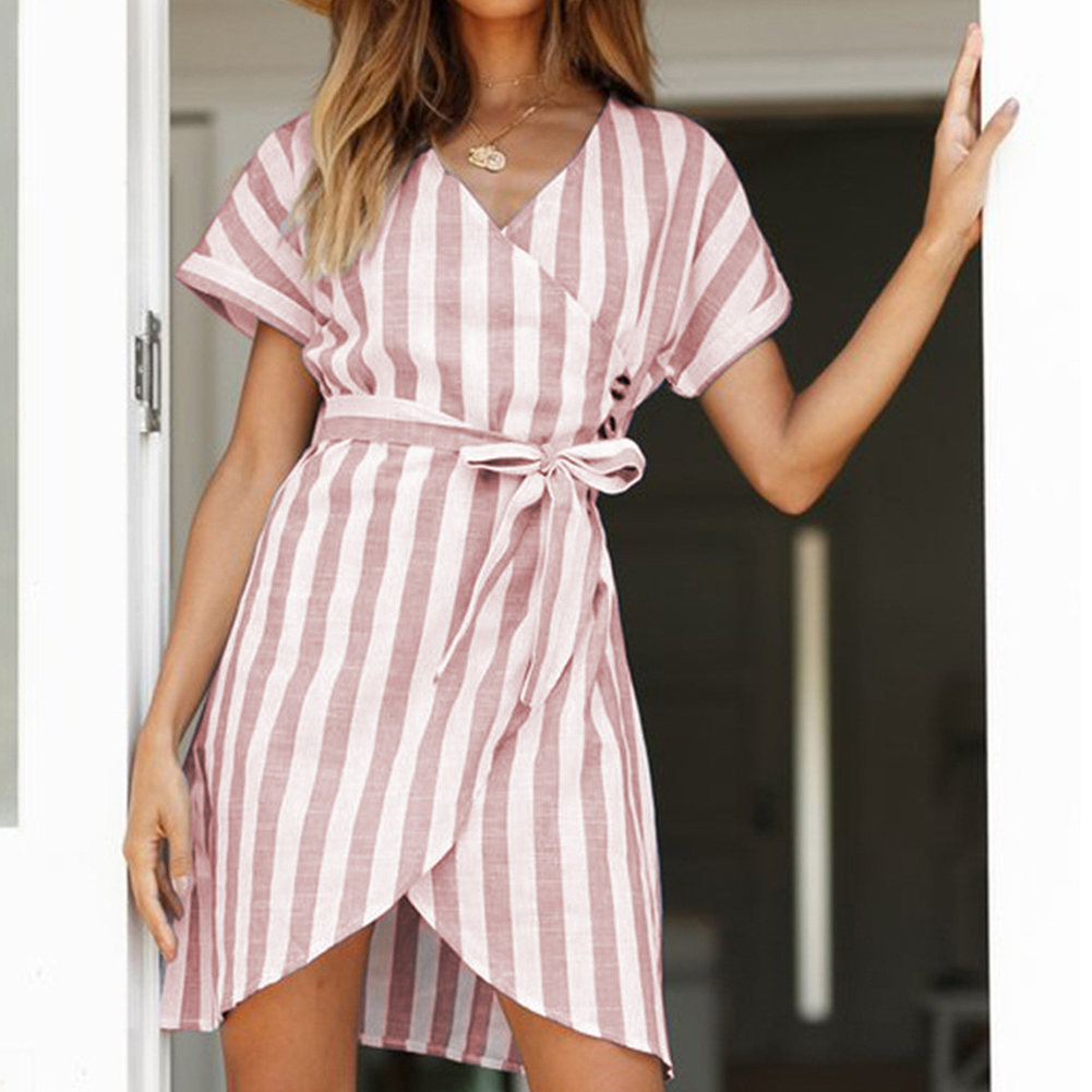 Summer Dress Striped A line Short Sleeve T Shirt Dress Drawstring High Waist V Neck Dresses Ladies Sashes Mini Casual Dress Pink in Dresses from Women 39 s Clothing