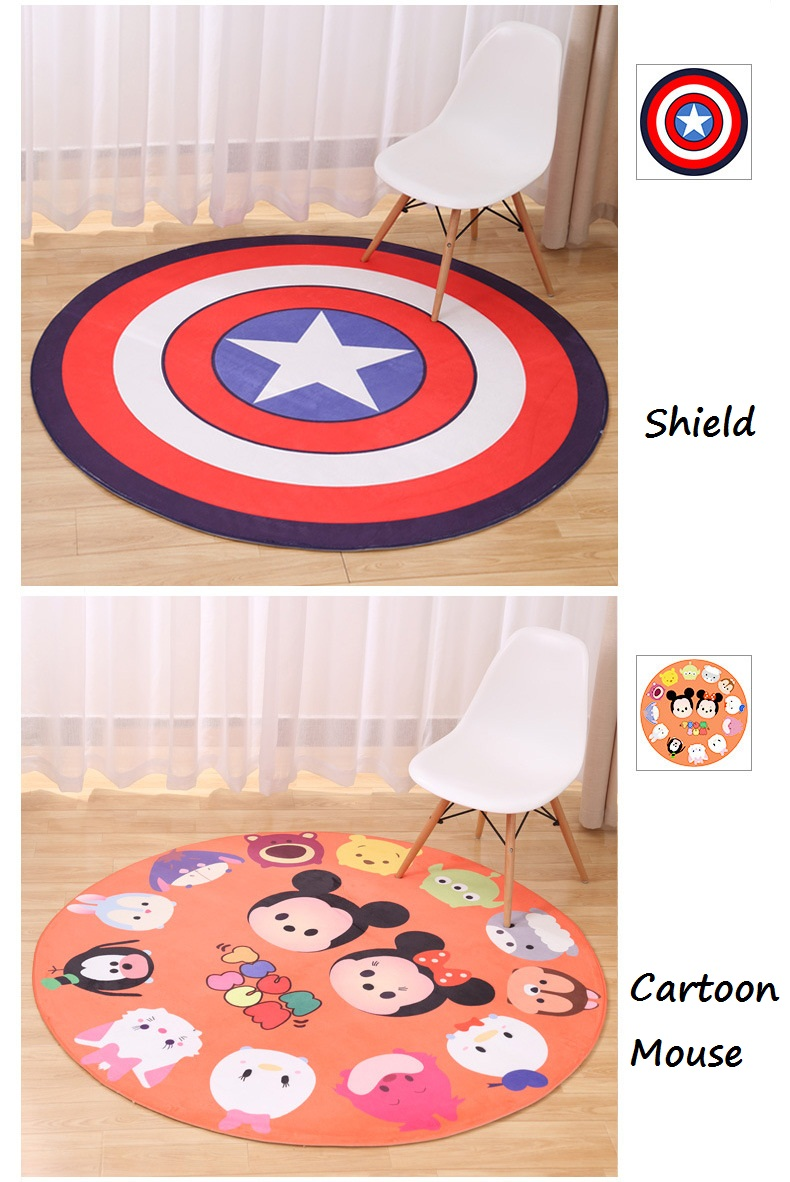 New Lovely Animal Round Carpet Diameter 60 80 100 120CM Super Soft Coral  Fleece Living Room Carpet Children Kids Bedroom Mat Rug - us94 6acb7bfa4d