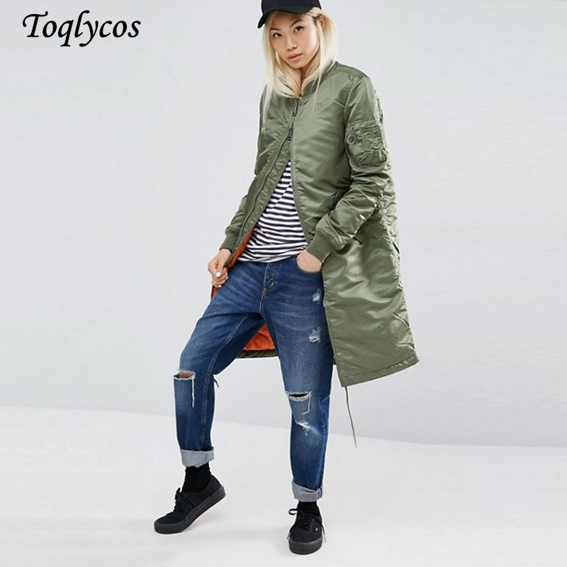Winter long   jackets   and coats spring female coat casual military olive green bomber   jacket   women   basic     jackets   plus size 153