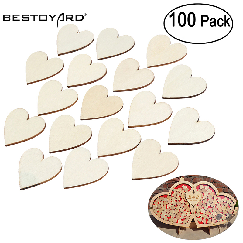 BESTOYARD 100/50pcs Blank Heart Wood Slices Discs Wood Heart Love Blank Unfinished Natural Crafts Supplies Wedding Ornaments(China)