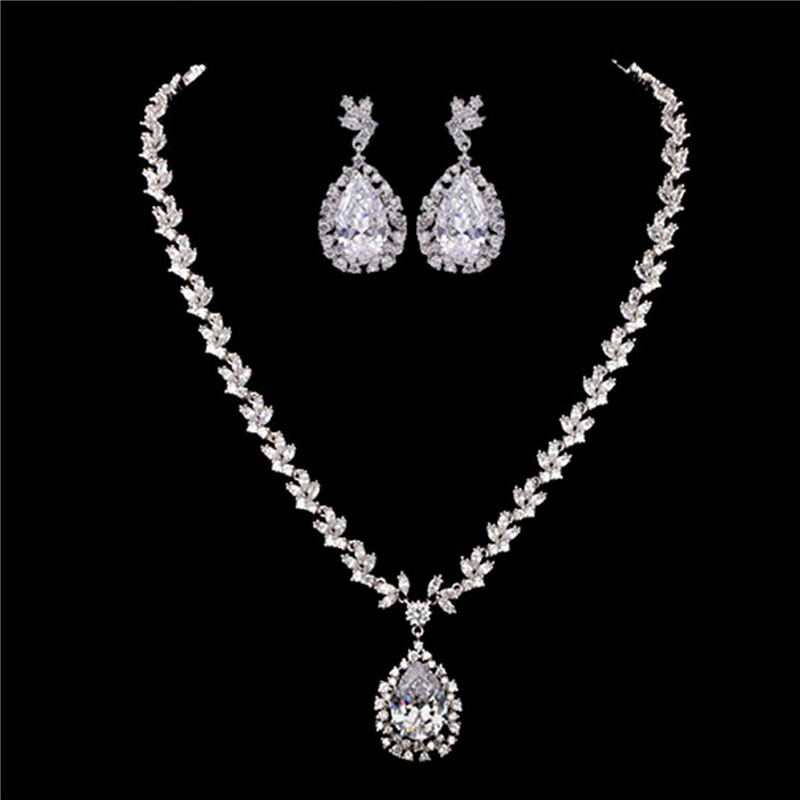 Moonso 925 Sterling Silver Jewelry for women wedding Austrian Earrings and Necklace african J1057 ge4 chic rhinestone african plate shape pendant necklace and earrings for women