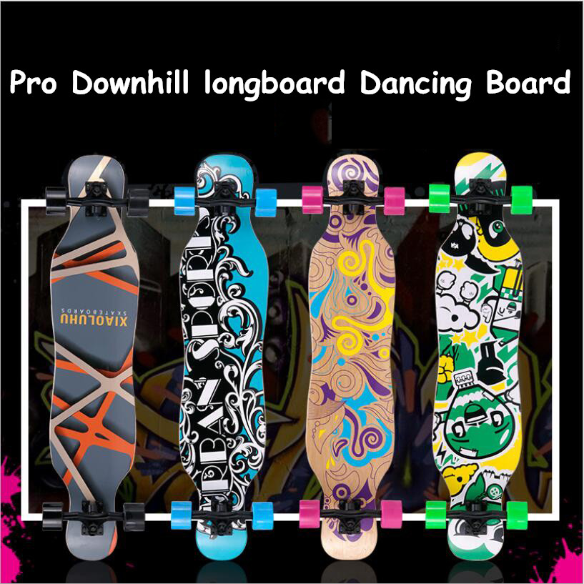 Professional Skateboard  Complete Maple Longboard Skate Board 4 Wheel Downhill Street Long Board Dance Board Roller Driftboard-in Skate Board from Sports & Entertainment