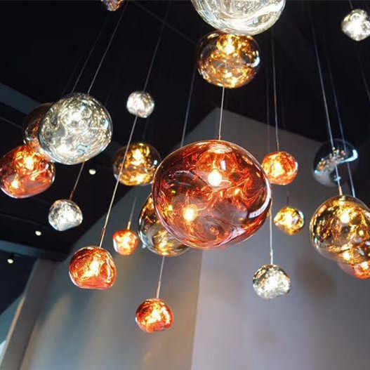 detailing 4e323 e6d36 Modern D30/40CM Tom DIXON Melt Pendant Lights Glass Lava Irregular Silver  Gold Copper Mirror Hang Lamp for Living Room Lighting