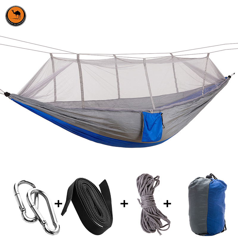 High Strength Camping Hammock with Mosquito Net - 2 Person Outdoor Travel Hammock for Camping Hiking Backpacking 2 people portable parachute hammock outdoor survival camping hammocks garden leisure travel double hanging swing 2 6m 1 4m 3m 2m