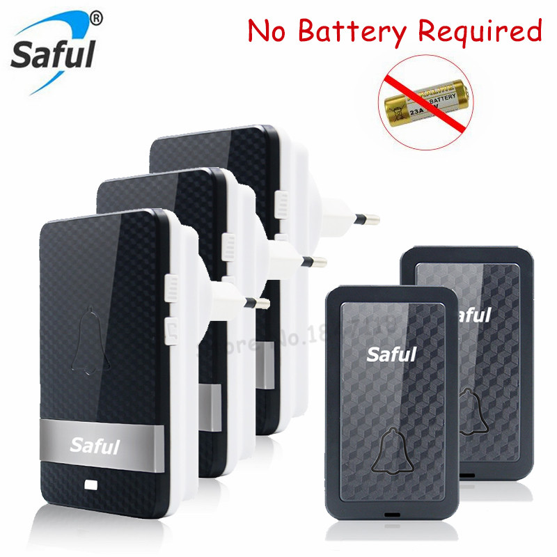 Saful Black No Battery Need Waterproof Door Bell Long Working Range Home Wireless Doorbell 2 Transmitter