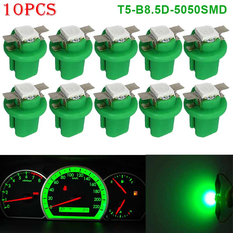 10pcs T5-B8.5D-5050smd LED SMD Lamp  Gauge Speed Dash Bulb Dashboard Instrument Light 12V LKS99