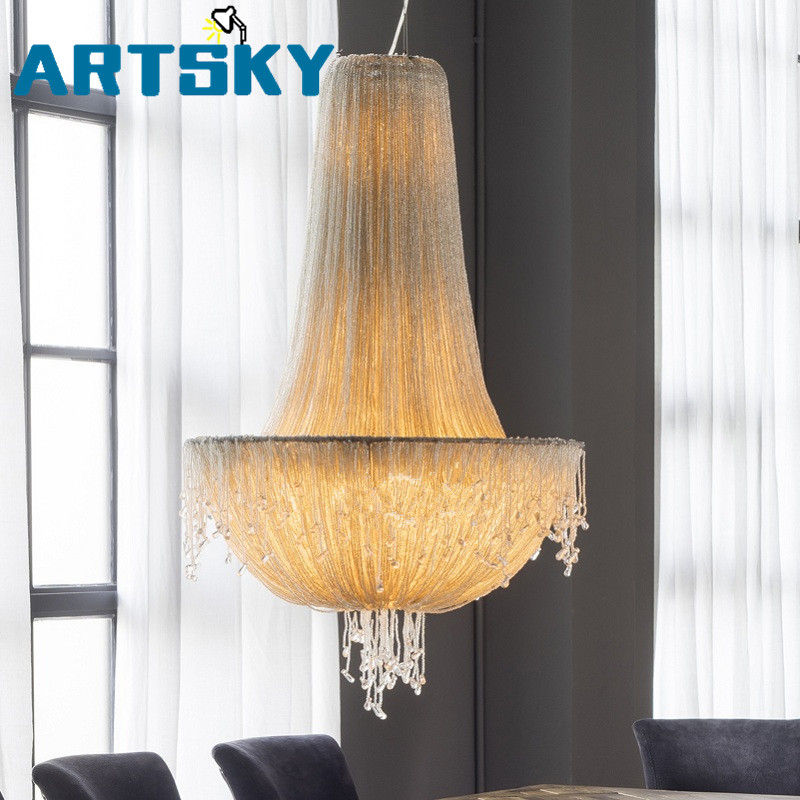 Jellyfish Crystal Chandeliers 20th Century Decorative Art French Pendant Lamp Retro Lighting Acaleph For Living Room Bedroom
