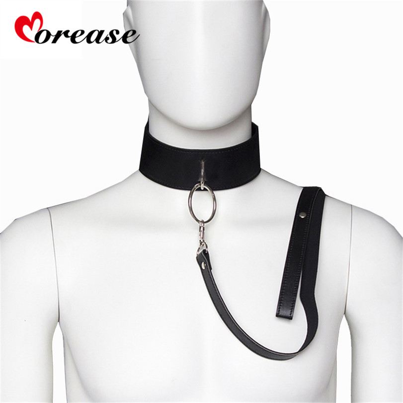 Sex Slave Bondage Collar And Leash Neck Dog Collar Leather Harness Fetsih Erotic BDSM Sex Adult Games Toys For Couples Woman Men