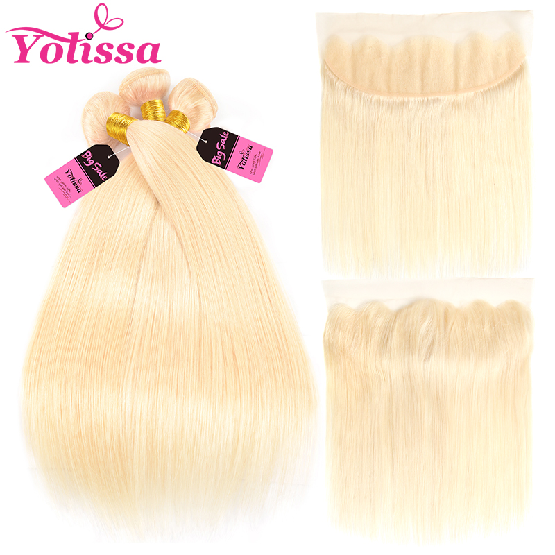 Yolissa Hair Blonde 613 Bundles With Frontal Pre Plucked With Baby Hair Brazilian Straight Remy Hair