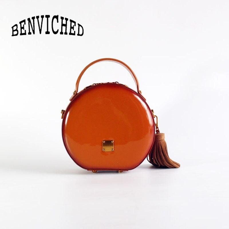 BENVICHED Das Senhoras saco de couro Real Rodada 2019 nova moda Pure color bolsa único saco de ombro de couro saco de Patente Brilhante c376