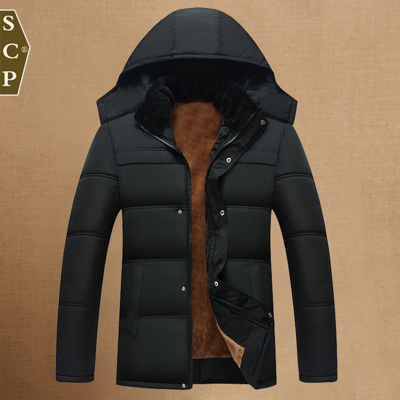 2016 old men's winter coat collar hooded men's father padded middle-aged man winter coat