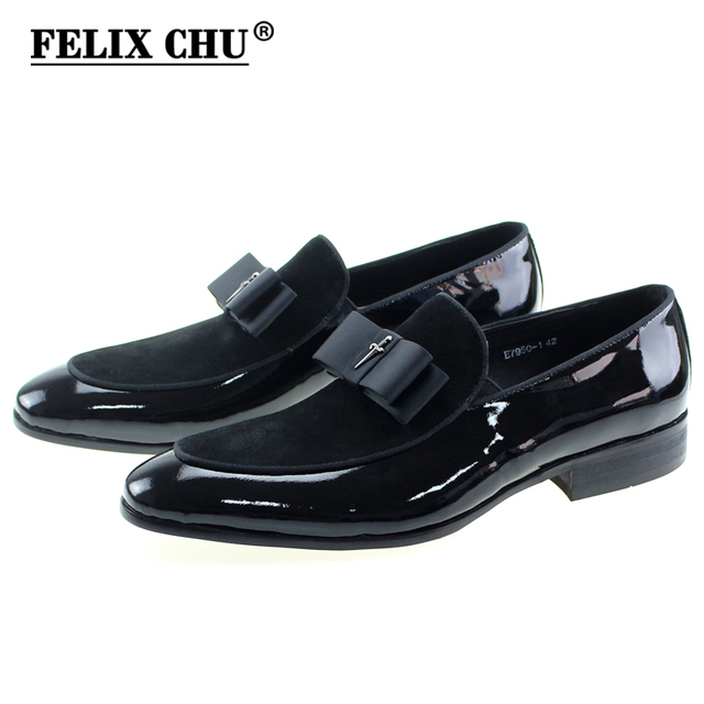 33ca02dae9743 Handmade Genuine Patent Leather And Nubuck Leather Patchwork With Bow Tie  Men Wedding Black Dress Shoes Men's Banquet Loafers