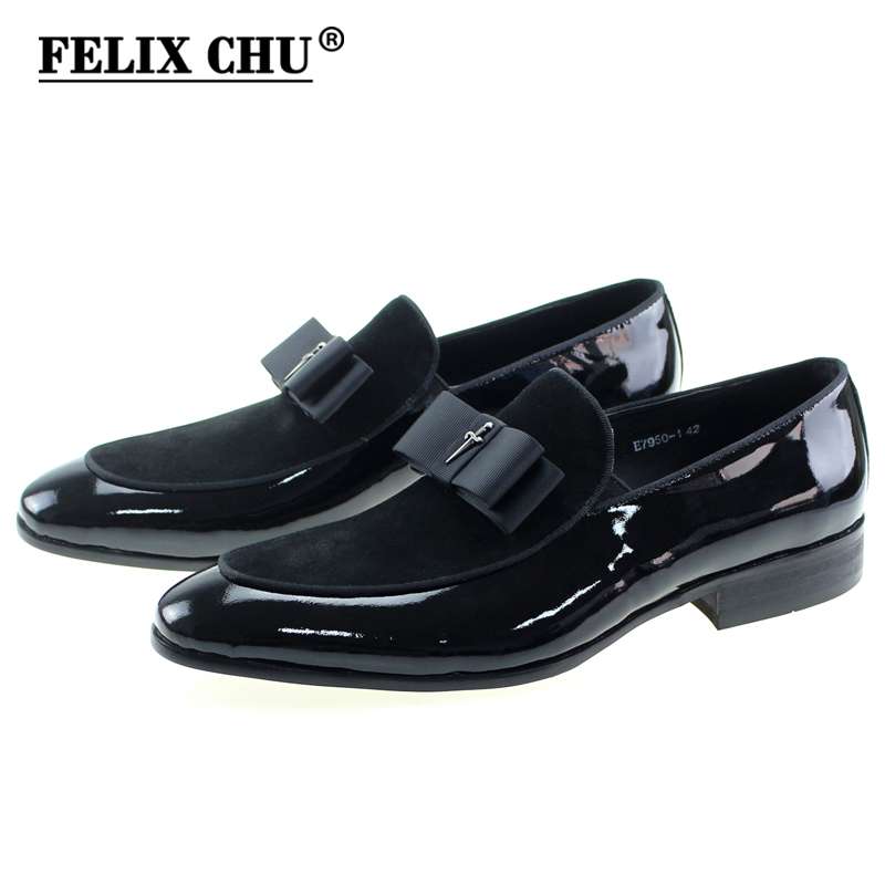 Handmade Real Patent Leather-based And Nubuck Leather-based Patchwork With Bow Tie Males Marriage ceremony Black Gown Footwear Males's Banquet Loafers