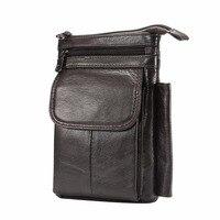Genuine Leather Phone Case For iPhone 4 4s 5 5s 5c SE 6 6S 7 8 Plus X Casual Belt Waist Diagonal Double Pockets Hook Loop Bag