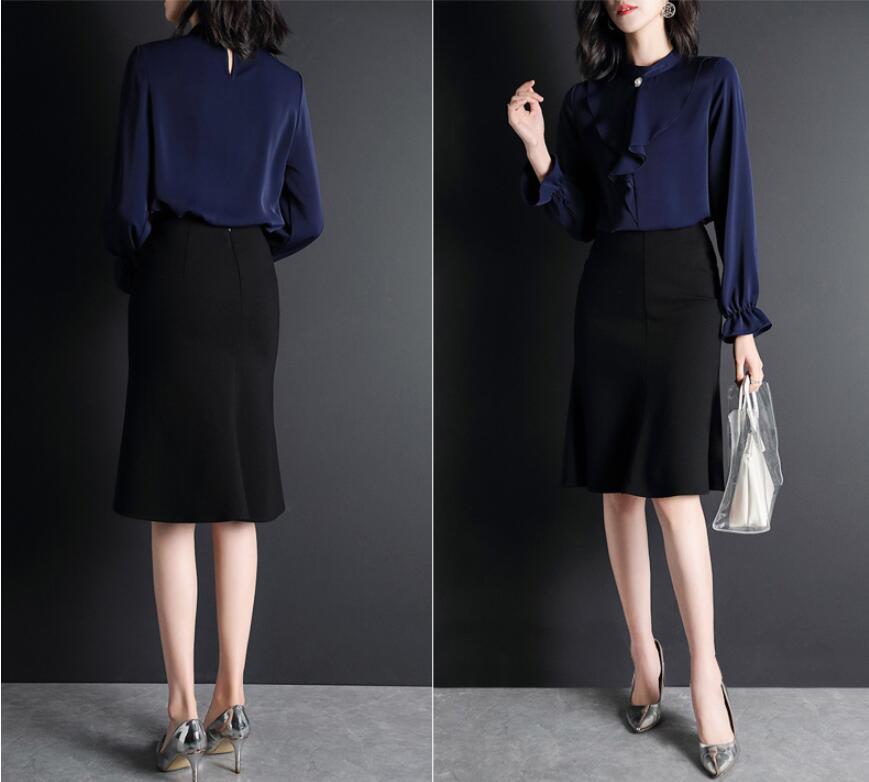 Montant Col pu Lâche Douille Ciel De Beige coréen Chemise Femme Femmes Mode Bleu Printemps 2019 Fusée marine Nouvelle Vêtements Tunique waP7zxq8