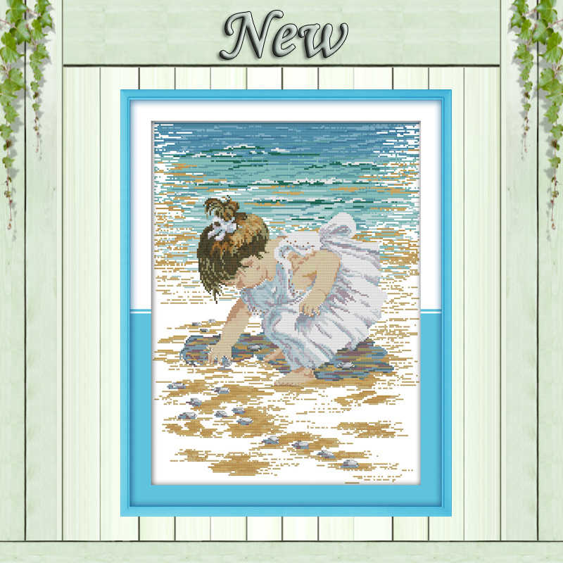The little boy on the beach shells Counted printed on canvas DMC 14CT 11CT Cross Stitch Needlework kit Embroider Sets wall Decor
