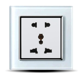 EK Standard Multi Function Crystal Glass Panel,Universal Power Socket with Five Hole Socket for Home Appliance Socket 4