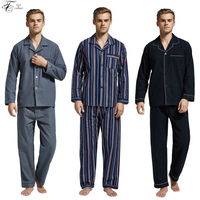 New Arrival Pajamas Men 100 Cotton Classic Pajamas Set Mens Flannel Long Sleeve Nightgown Winter Soft