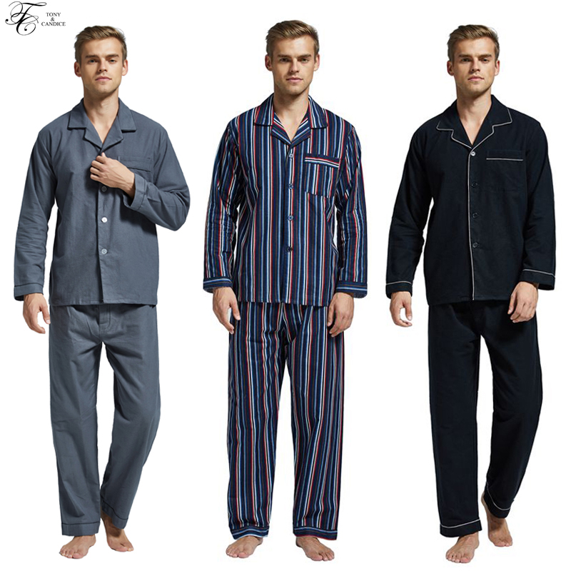 Tony&Candice Winter Pajamas Men Sleepwear Flannel Warm Pajama Set Male Nightgown Long Sleeve 100% Cotton Casual Pyjamas Home