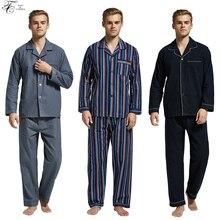 Купить с кэшбэком New Arrival Pajamas Men 100% Cotton Classic Pajamas Set  Mens Flannel Long-Sleeve Nightgown Winter Soft Sleepwear For Male