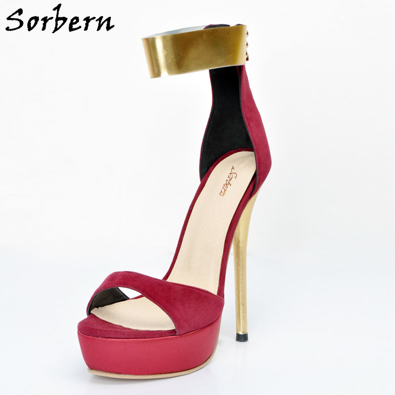 Sorbern Fashion Ankle Strap Back Zipper One Strap Women Sandals Open Toe Platform High Heels Ol Shoes Women 11 Sandalia Feminina royal blue women sandals hollow out thick heels open toe platform shoes woman sapato feminino sandalia feminina size 14 heels
